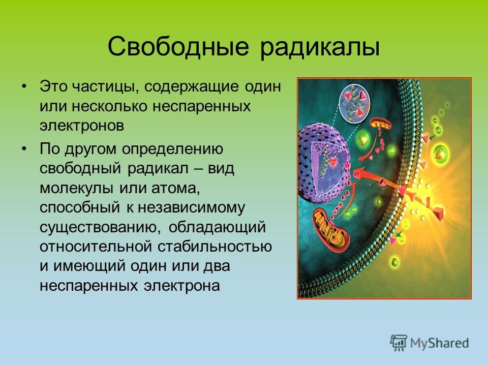 Свободные радикалы Это частицы, содержащие один или несколько неспаренных электронов По другом определению свободный радикал – вид молекулы или атома, способный к независимому существованию, обладающий относительной стабильностью и имеющий один или д