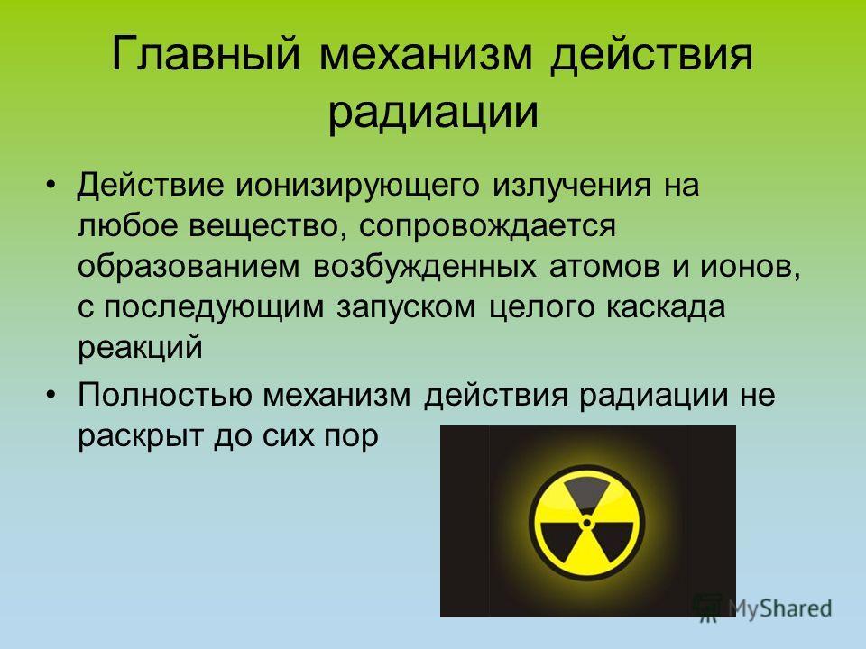 Главный механизм действия радиации Действие ионизирующего излучения на любое вещество, сопровождается образованием возбужденных атомов и ионов, с последующим запуском целого каскада реакций Полностью механизм действия радиации не раскрыт до сих пор