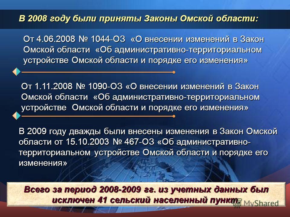 В 2008 году были приняты Законы Омской области: В 2009 году дважды были внесены изменения в Закон Омской области от 15.10.2003 467-ОЗ «Об административно- территориальном устройстве Омской области и порядке его изменения» Всего за период 2008-2009 гг