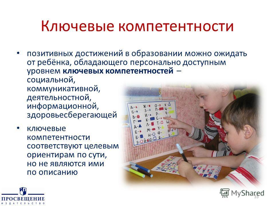 Ключевые компетентности позитивных достижений в образовании можно ожидать от ребёнка, обладающего персонально доступным уровнем ключевых компетентностей – социальной, коммуникативной, деятельностной, информационной, здоровьесберегающей ключевые компе