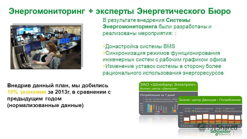 Энергомониторинг + эксперты Энергетического Бюро В результате внедрения Системы Энергомониторинга были разработаны и реализованы мероприятия: : Донастройка системы BMS Синхронизация режимов функционирования инженерных систем с рабочим графиком офиса