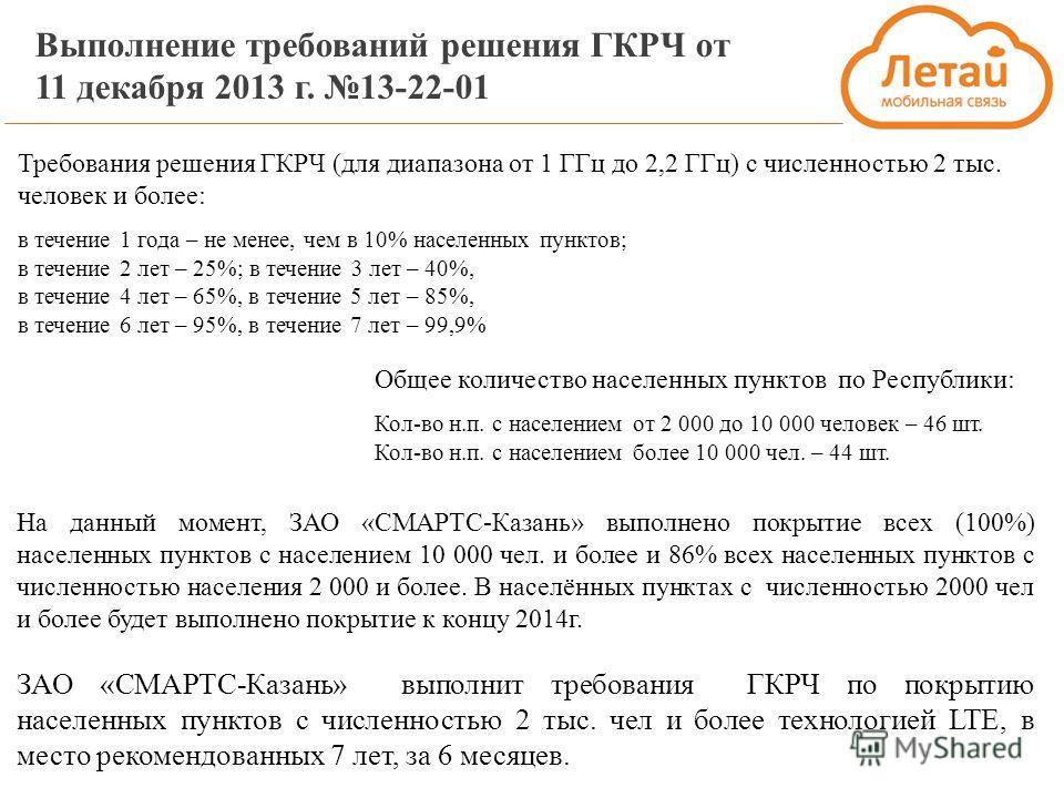 Выполнение требований решения ГКРЧ от 11 декабря 2013 г. 13-22-01 На данный момент, ЗАО «СМАРТС-Казань» выполнено покрытие всех (100%) населенных пунктов с населением 10 000 чел. и более и 86% всех населенных пунктов с численностью населения 2 000 и