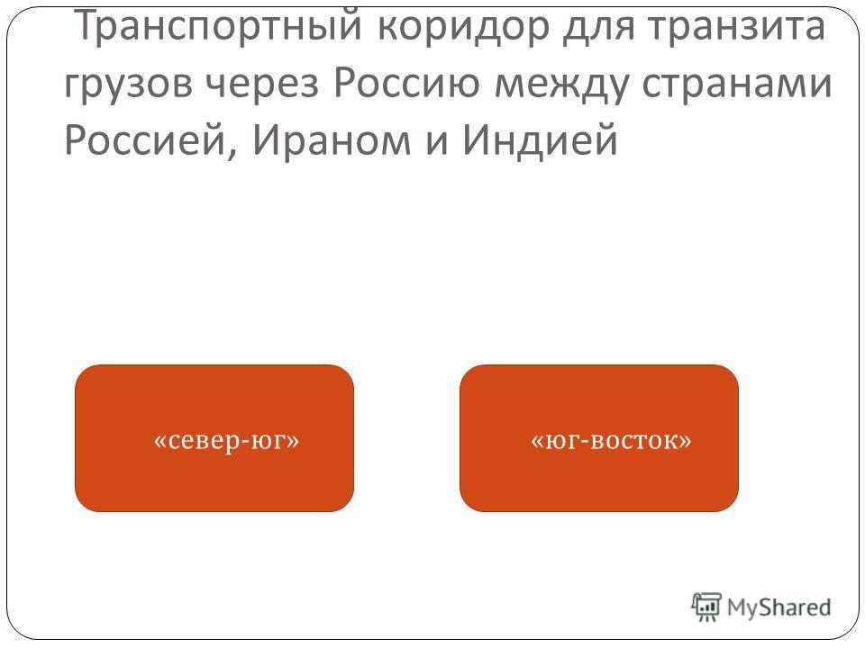 Транспортный коридор для транзита грузов через Россию между странами Россией, Ираном и Индией « юг - восток » « север - юг »