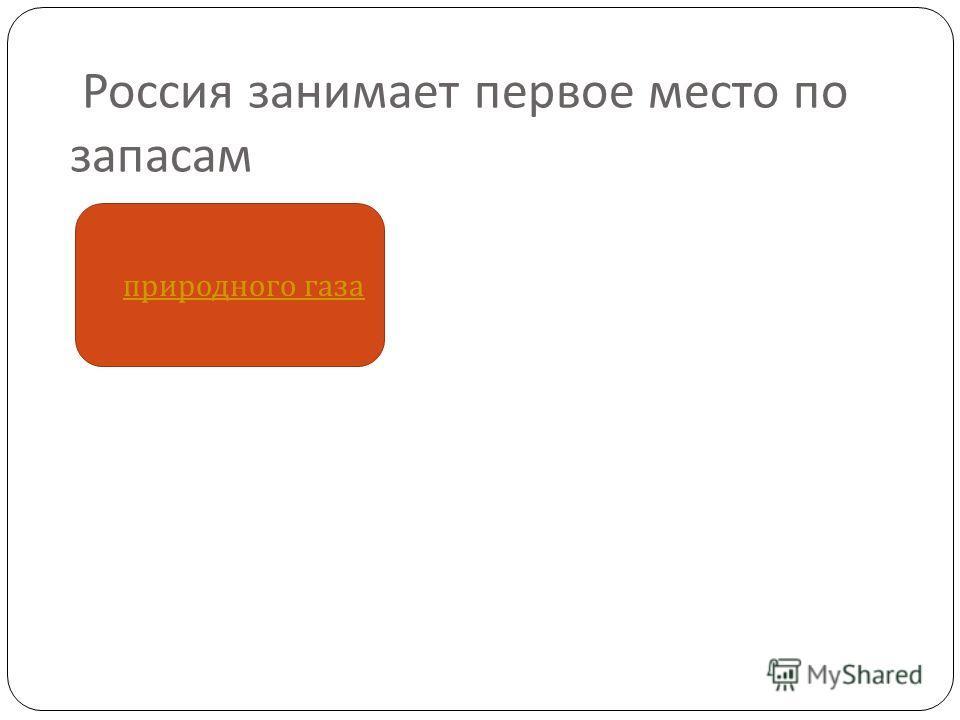 Россия занимает первое место по запасам природного газа природного газа