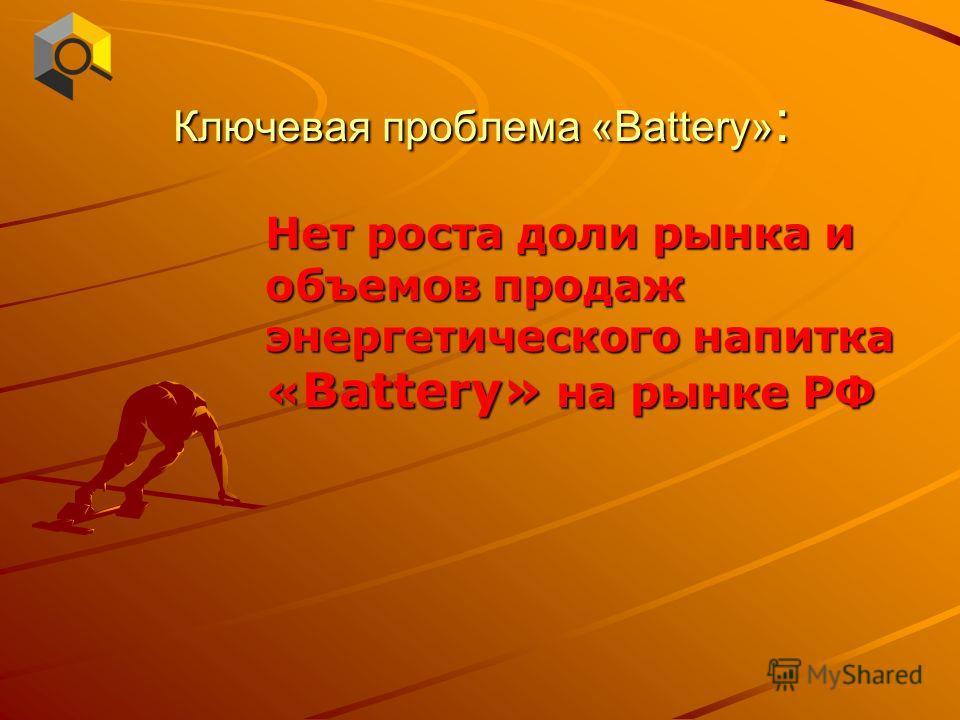 Ключевая проблема «Battery» : Нет роста доли рынка и объемов продаж энергетического напитка « Battery» на рынке РФ
