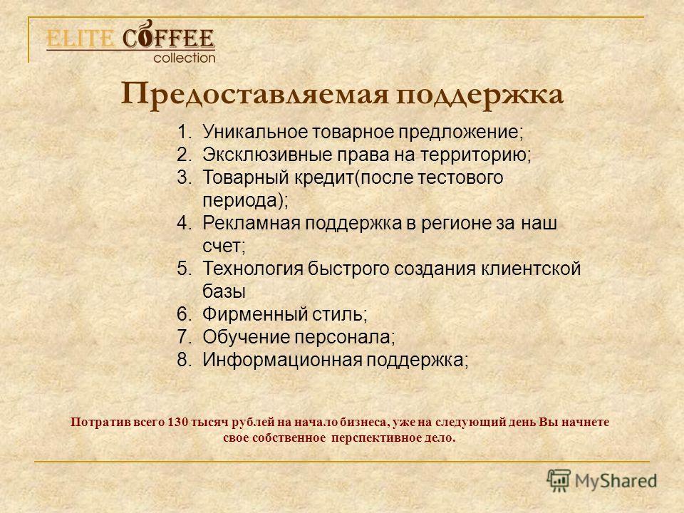 Предоставляемая поддержка Потратив всего 130 тысяч рублей на начало бизнеса, уже на следующий день Вы начнете свое собственное перспективное дело. 1. Уникальное товарное предложение; 2. Эксклюзивные права на территорию; 3. Товарный кредит(после тесто