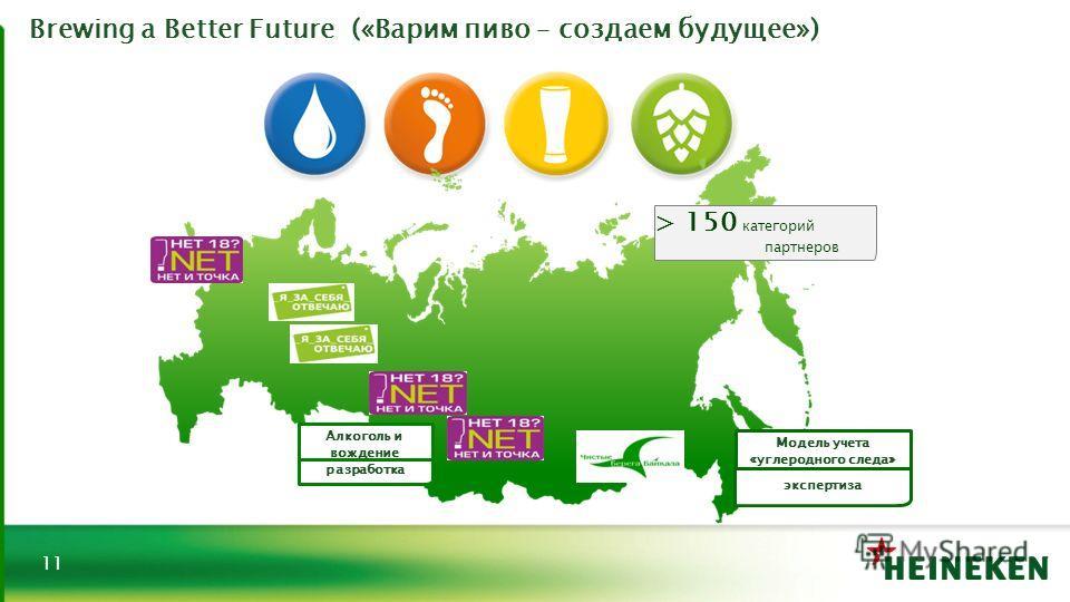 Brewing a Better Future («Варим пиво – создаем будущее») 11 > 150 категорий партнеров Алкоголь и вождение разработка Модель учета «углеродного следа» экспертиза