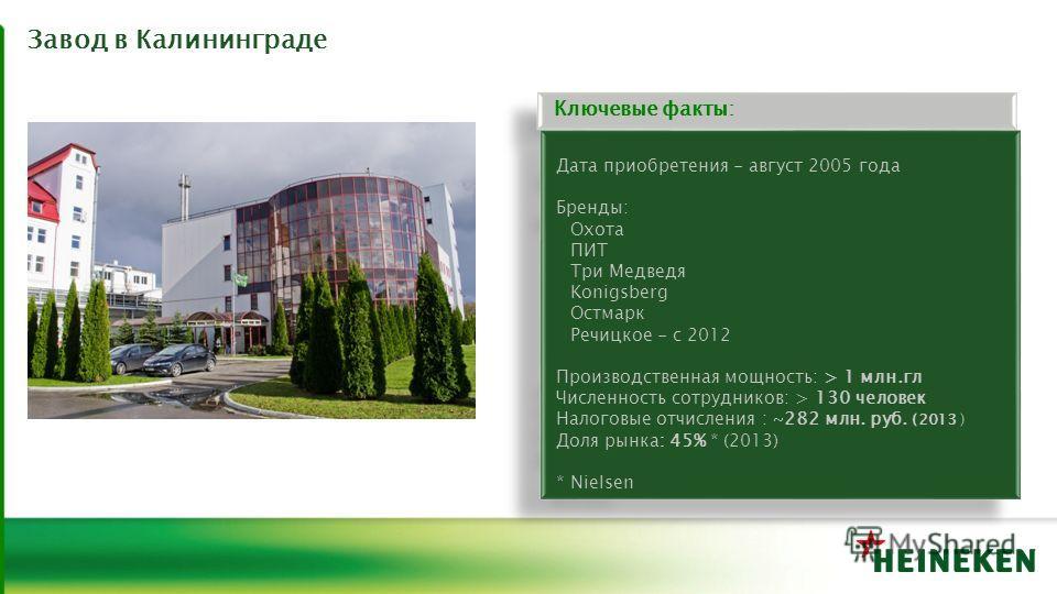 Завод в Калининграде Дата приобретения - август 2005 года Бренды: Охота ПИТ Три Медведя Konigsberg Остмарк Речицкое - с 2012 Производственная мощность: > 1 млн.гл Численность сотрудников: > 130 человек Налоговые отчисления : ~282 млн. руб. (2013 ) До