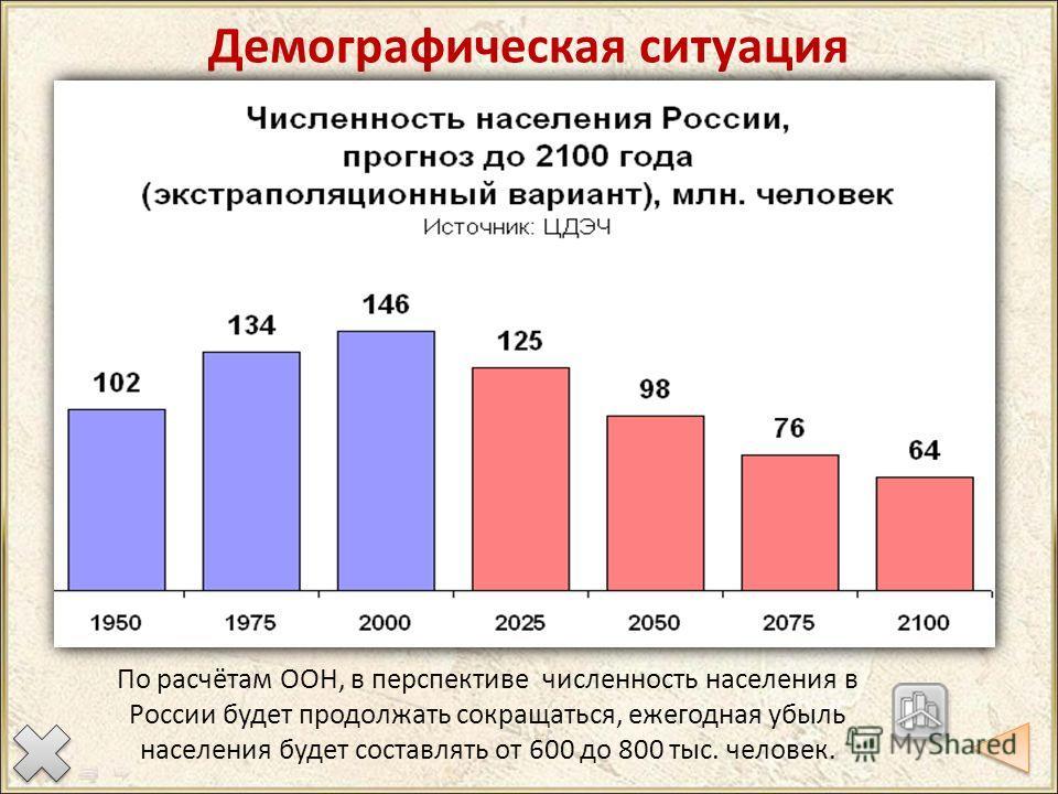 Демографическая ситуация По расчётам ООН, в перспективе численность населения в России будет продолжать сокращаться, ежегодная убыль населения будет составлять от 600 до 800 тыс. человек.