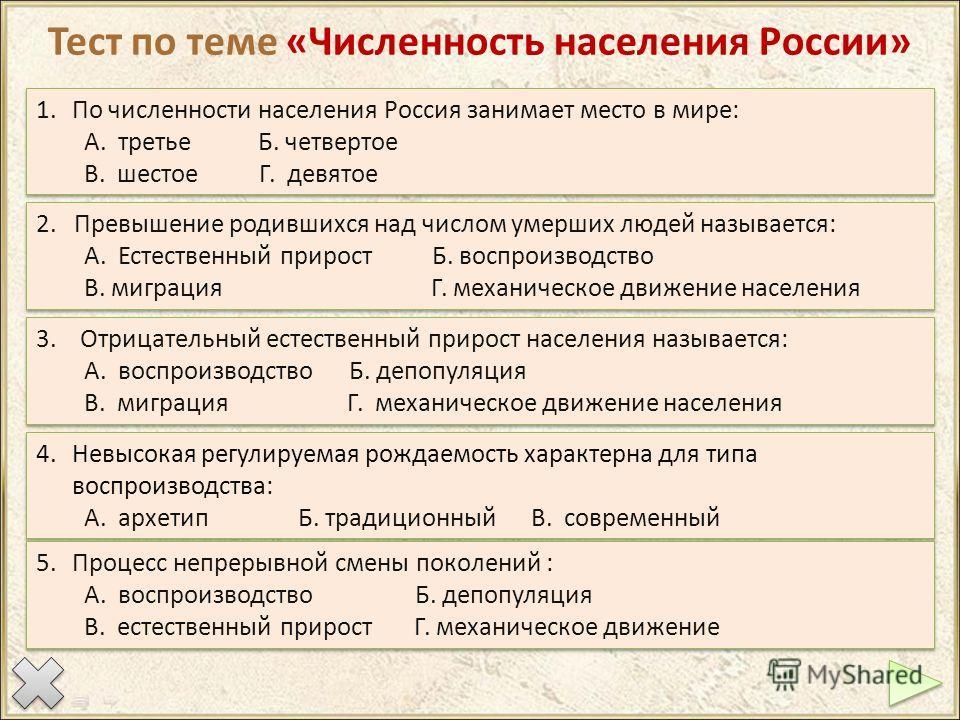Тест по теме «Численность населения России» 1. По численности населения Россия занимает место в мире: А. третье Б. четвертое В. шестое Г. девятое 1. По численности населения Россия занимает место в мире: А. третье Б. четвертое В. шестое Г. девятое 2.
