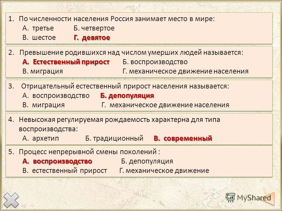1. По численности населения Россия занимает место в мире: А. третье Б. четвертое Г. девятое В. шестое Г. девятое 1. По численности населения Россия занимает место в мире: А. третье Б. четвертое Г. девятое В. шестое Г. девятое 2. Превышение родившихся