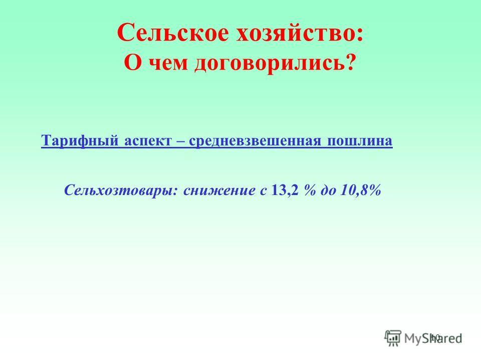 10 Сельское хозяйство: О чем договорились? Тарифный аспект – средневзвешенная пошлина Сельхозтовары: снижение с 13,2 % до 10,8%