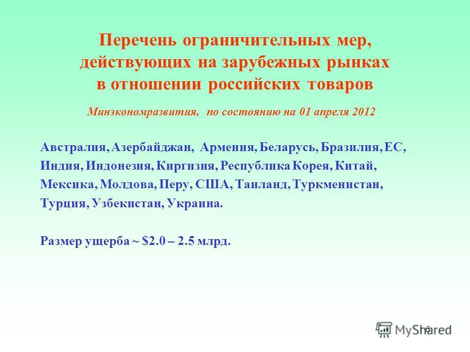 6 Перечень ограничительных мер, действующих на зарубежных рынках в отношении российских товаров Минэкономразвития, по состоянию на 01 апреля 2012 Австралия, Азербайджан, Армения, Беларусь, Бразилия, ЕС, Индия, Индонезия, Киргизия, Республика Корея, К