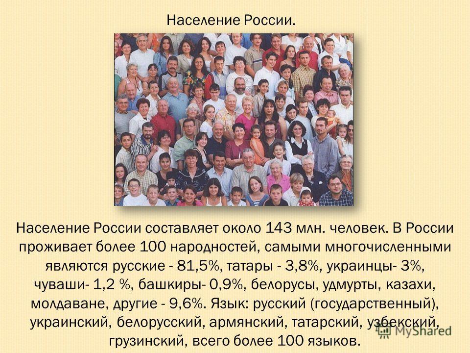 Население России составляет около 143 млн. человек. В России проживает более 100 народностей, самыми многочисленными являются русские - 81,5%, татары - 3,8%, украинцы- 3%, чуваши- 1,2 %, башкиры- 0,9%, белорусы, удмурты, казахи, молдаване, другие - 9