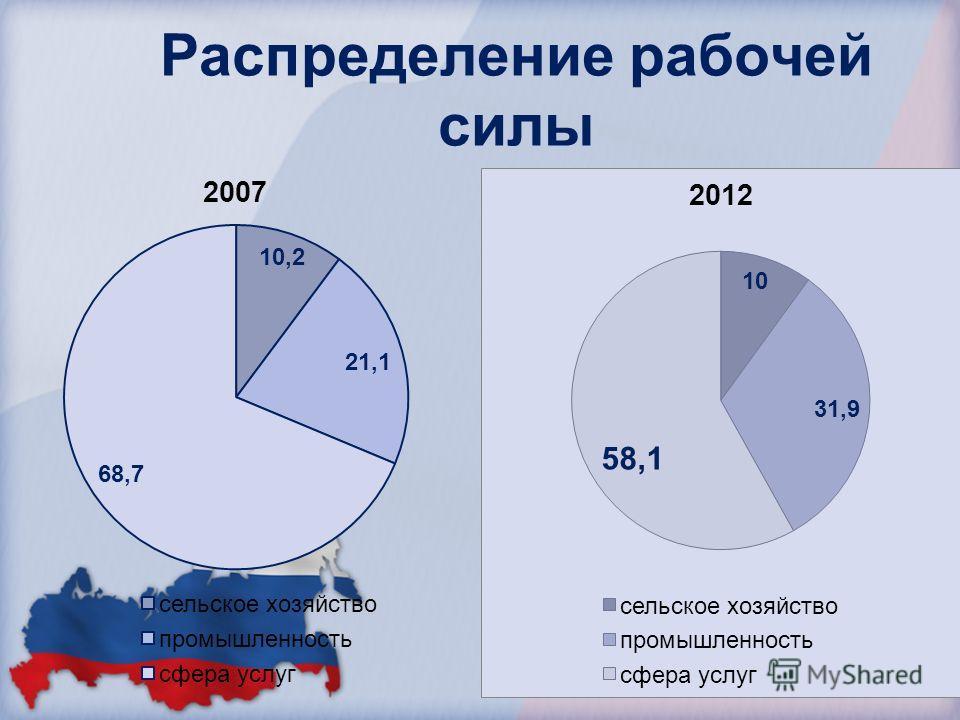 Распределение рабочей силы 2012