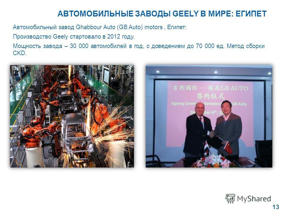 Автомобильный завод Ghabbour Auto (GB Auto) motors, Египет: Производство Geely стартовало в 2012 году. Мощность завода – 30 000 автомобилей в год, с доведением до 70 000 ед. Метод сборки CKD. 13 АВТОМОБИЛЬНЫЕ ЗАВОДЫ GEELY В МИРЕ: ЕГИПЕТ