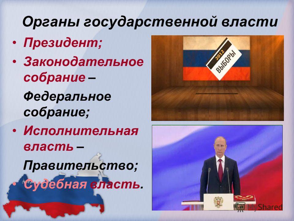 Органы государственной власти Президент; Законодательное собрание – Федеральное собрание; Исполнительная власть – Правительство; Судебная власть.