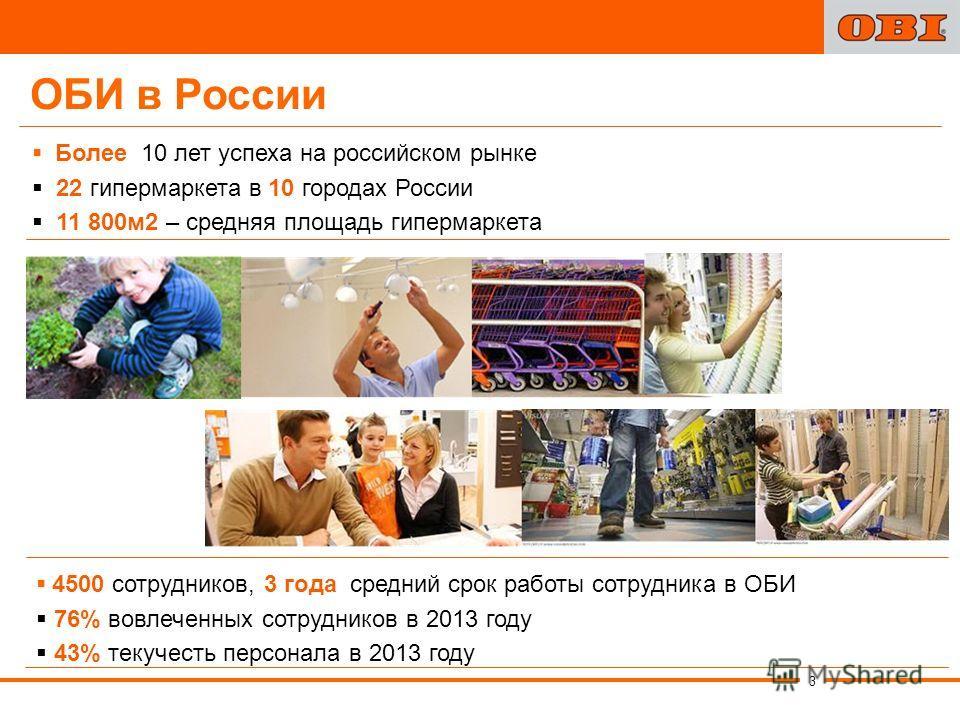 Более 10 лет успеха на российском рынке 22 гипермаркета в 10 городах России 11 800 м 2 – средняя площадь гипермаркета 4500 сотрудников, 3 года средний срок работы сотрудника в ОБИ 76% вовлеченных сотрудников в 2013 году 43% текучесть персонала в 2013