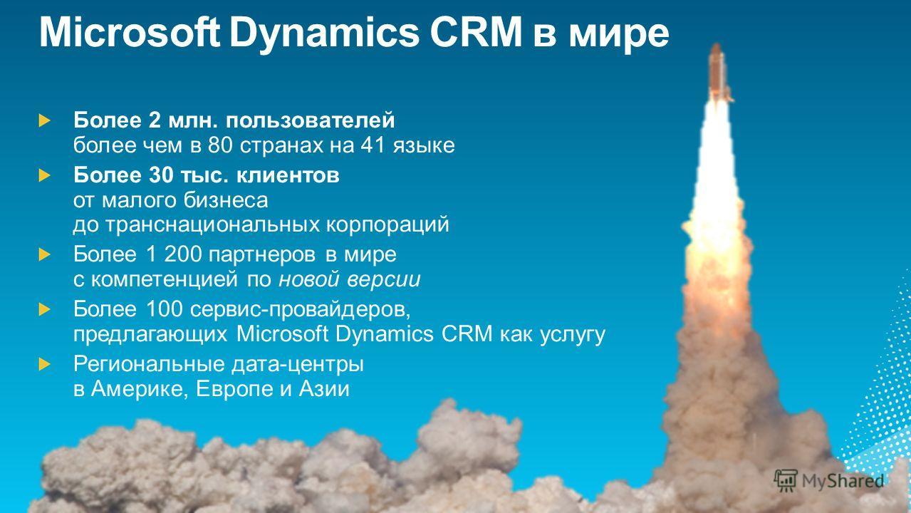 Microsoft Dynamics CRM в мире Более 2 млн. пользователей более чем в 80 странах на 41 языке Более 30 тыс. клиентов от малого бизнеса до транснациональных корпораций Более 1 200 партнеров в мире с компетенцией по новой версии Более 100 сервис-провайде