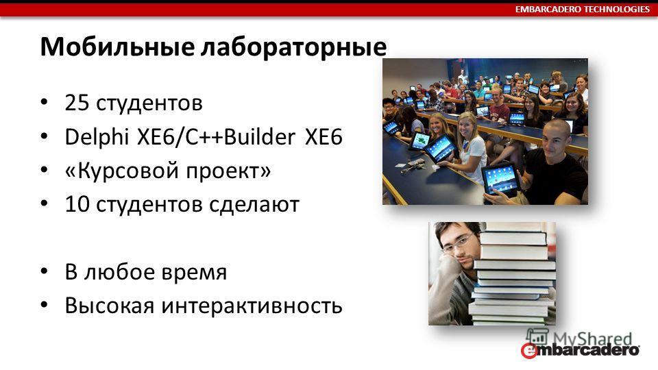 EMBARCADERO TECHNOLOGIES Мобильные лабораторные 25 студентов Delphi XE6/C++Builder XE6 «Курсовой проект» 10 студентов сделают В любое время Высокая интерактивность