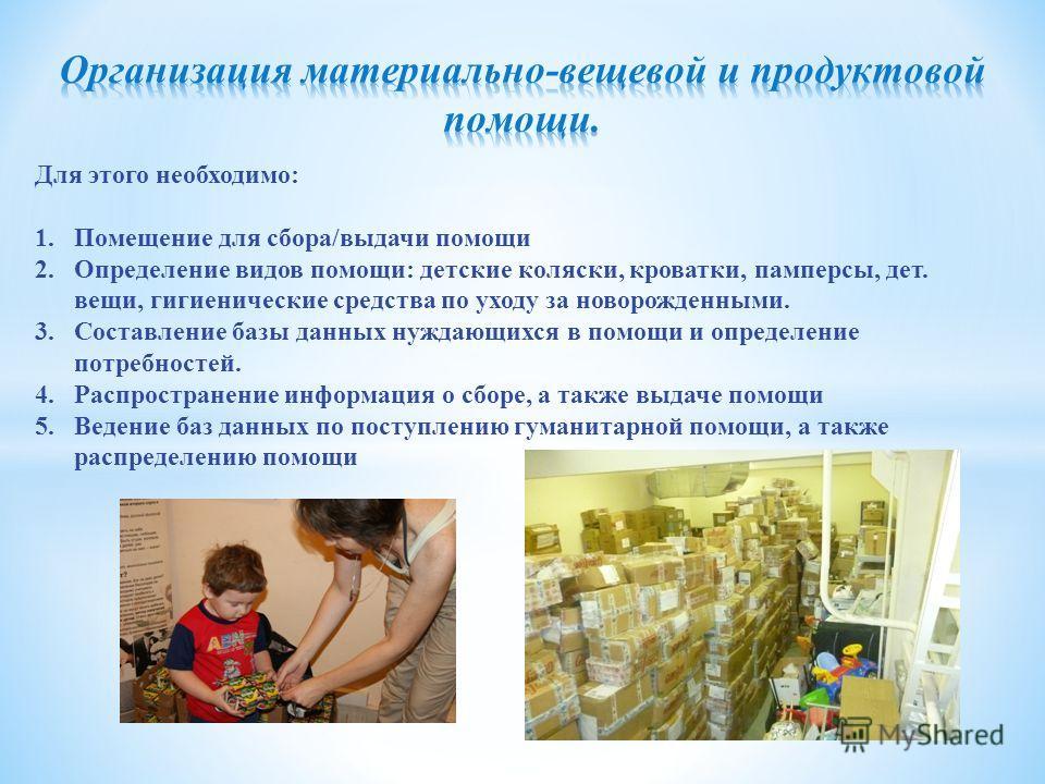 Для этого необходимо: 1. Помещение для сбора/выдачи помощи 2. Определение видов помощи: детские коляски, кроватки, памперсы, дет. вещи, гигиенические средства по уходу за новорожденными. 3. Составление базы данных нуждающихся в помощи и определение п