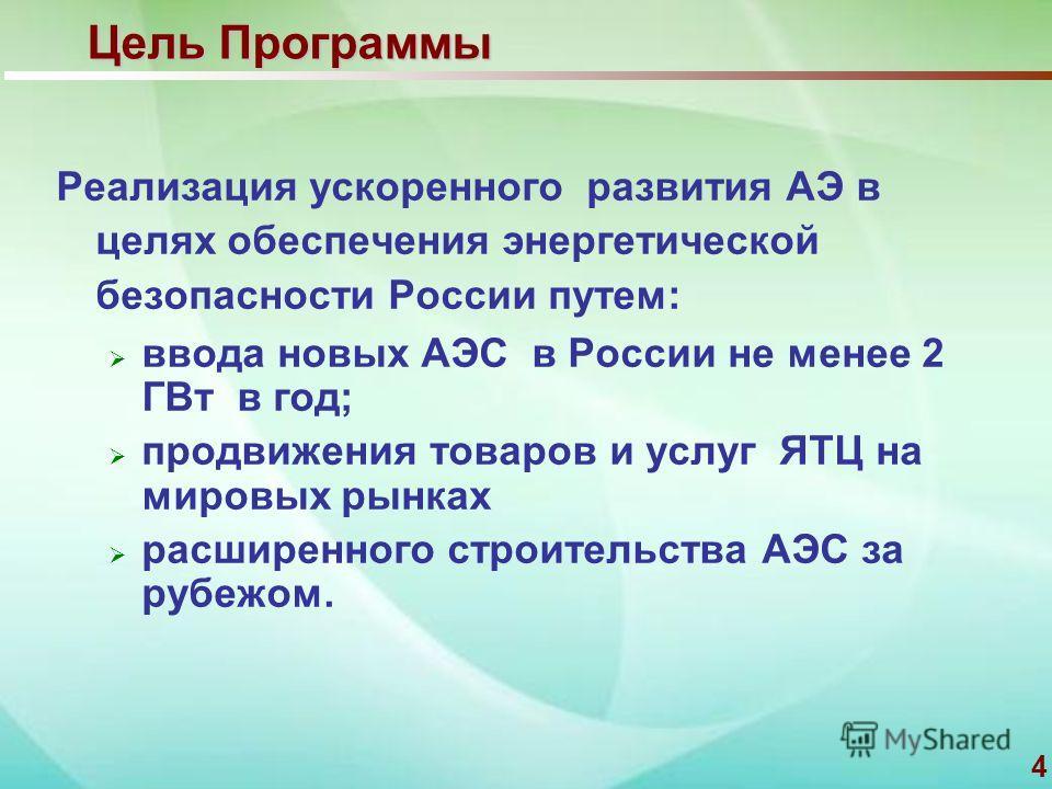 4 Цель Программы Реализация ускоренного развития АЭ в целях обеспечения энергетической безопасности России путем: ввода новых АЭС в России не менее 2 ГВт в год; продвижения товаров и услуг ЯТЦ на мировых рынках расширенного строительства АЭС за рубеж
