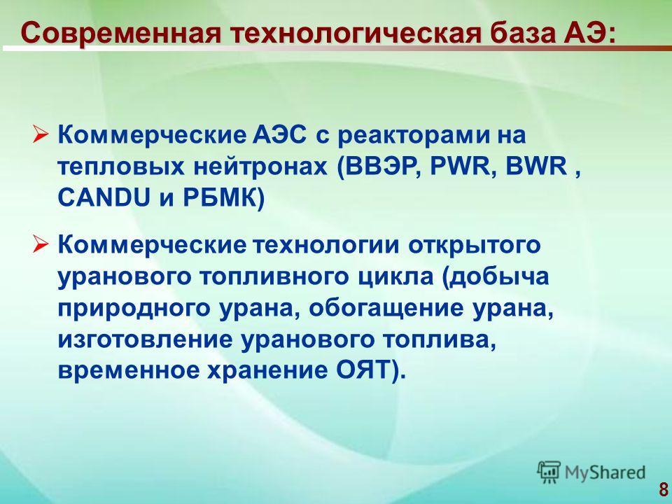 8 Современная технологическая база АЭ: Коммерческие АЭС с реакторами на тепловых нейтронах (ВВЭР, PWR, BWR, CANDU и РБМК) Коммерческие технологии открытого уранового топливного цикла (добыча природного урана, обогащение урана, изготовление уранового