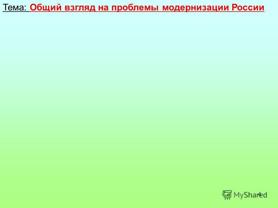 4 Тема: Общий взгляд на проблемы модернизации России