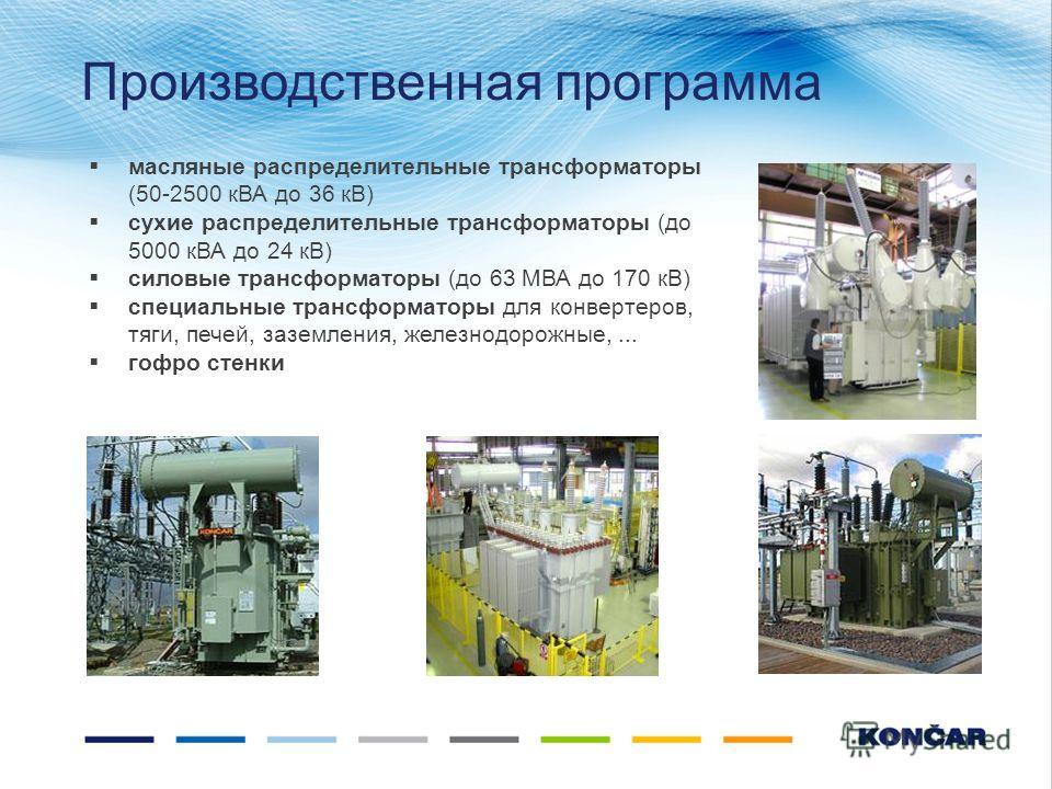 масляные распределительные трансформаторы (50-2500 кВА до 36 кВ) сухие распределительные трансформаторы (до 5000 кВА до 24 кВ) силовые трансформаторы (до 63 МВА до 170 кВ) специальные трансформаторы для конвертеров, тяги, печей, заземления, железнодо
