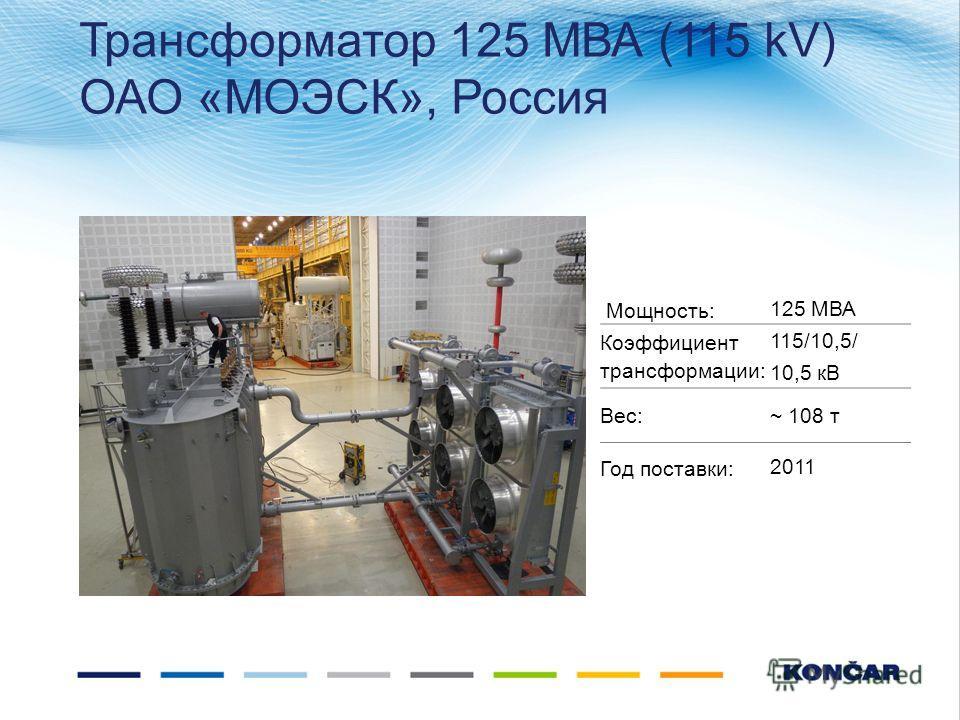 Трансформатор 125 МВА (115 kV) ОАО «МОЭСК», Россия Мощность:125 МВА Коэффициент трансформации: 115/10,5/ 10,5 кВ Вес: ~ 108 т Год поставки:2011