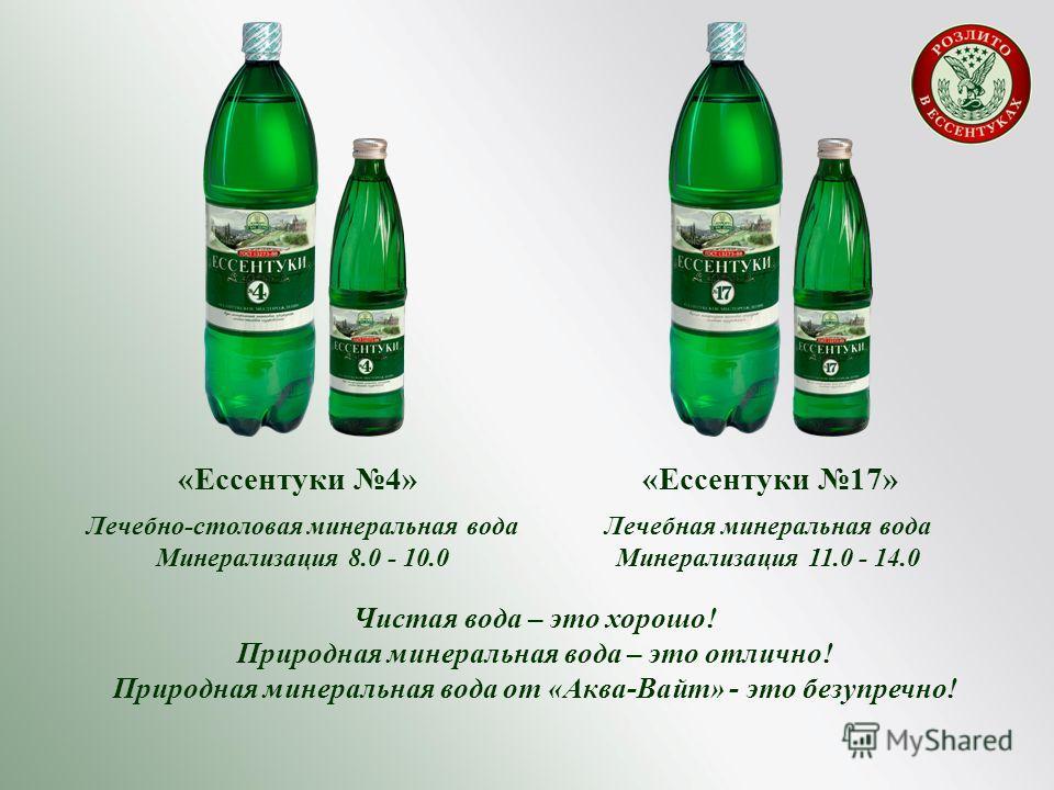 «Ессентуки 4» Лечебно-столовая минеральная вода Минерализация 8.0 - 10.0 «Ессентуки 17» Лечебная минеральная вода Минерализация 11.0 - 14.0 Чистая вода – это хорошо! Природная минеральная вода – это отлично! Природная минеральная вода от «Аква-Вайт»