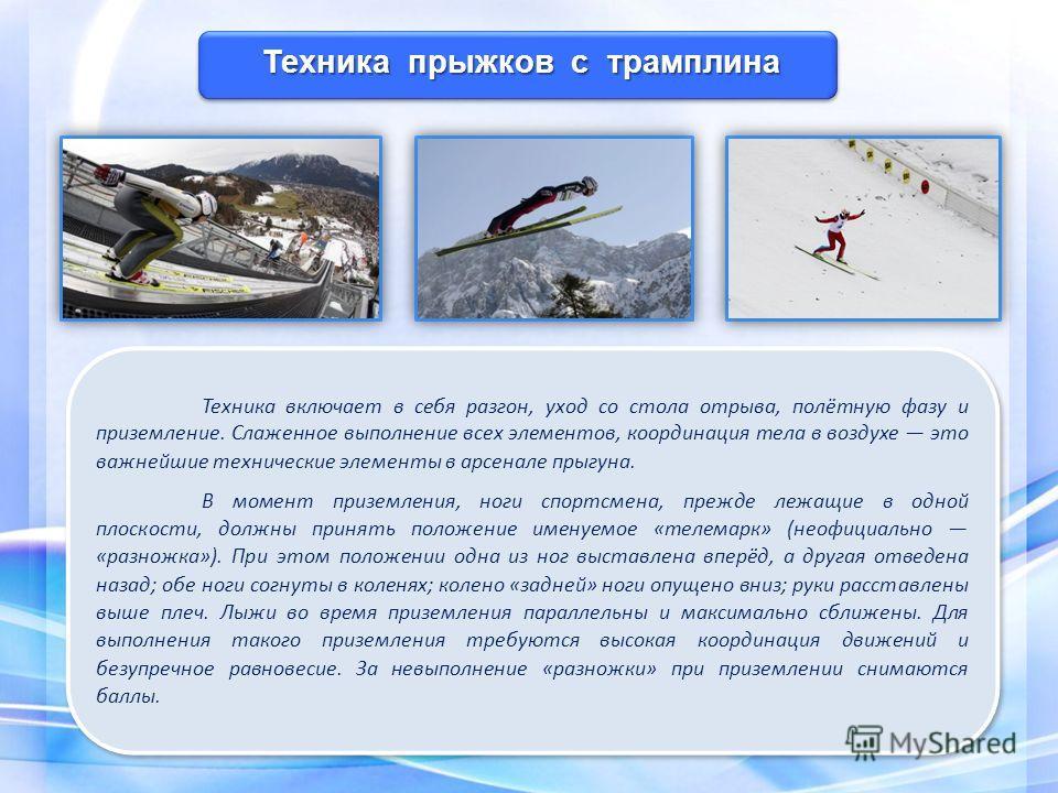 Техника включает в себя разгон, уход со стола отрыва, полётную фазу и приземление. Слаженное выполнение всех элементов, координация тела в воздухе это важнейшие технические элементы в арсенале прыгуна. В момент приземления, ноги спортсмена, прежде ле