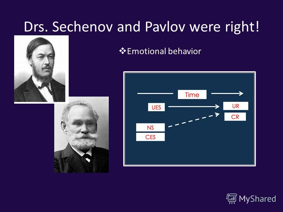 Drs. Sechenov and Pavlov were right! Emotional behavior