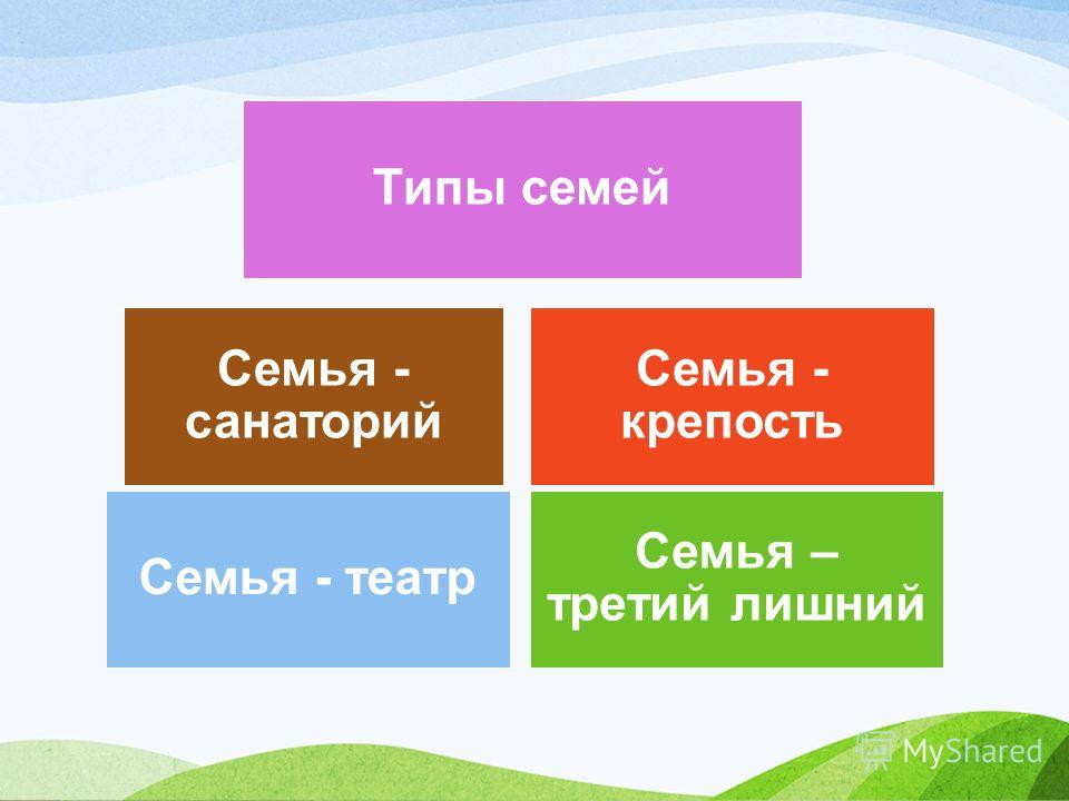 Семья - театр Семья – третий лишний Семья - санаторий Семья - крепость Типы семей