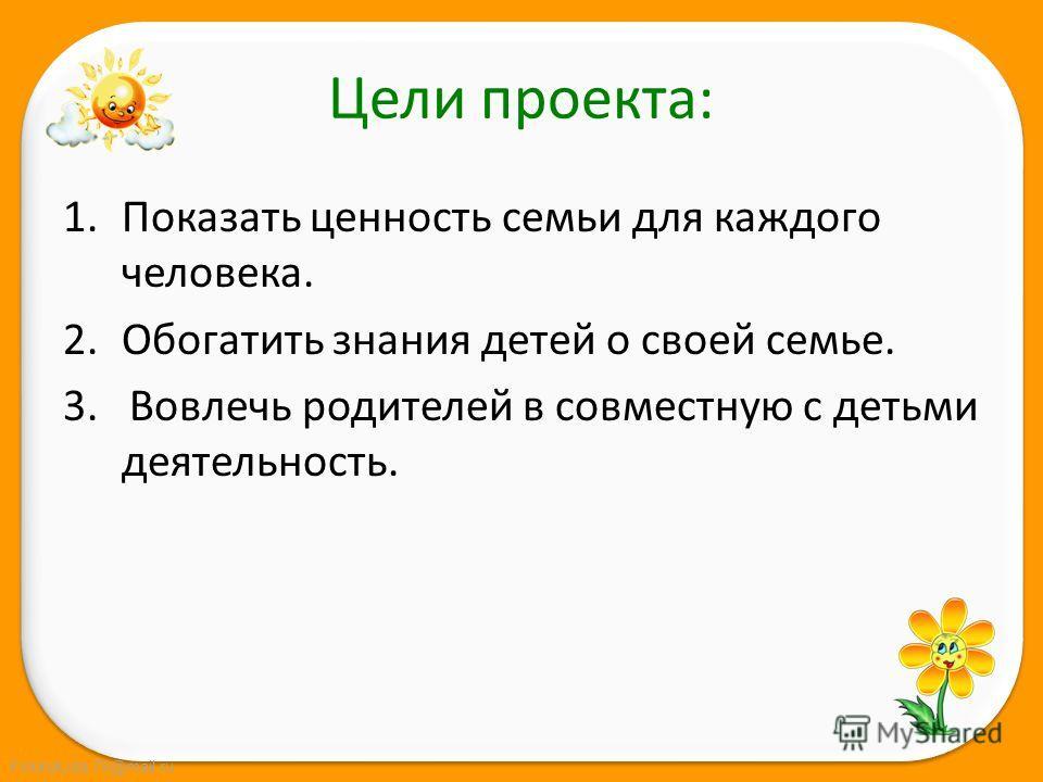 FokinaLida.75@mail.ru Цели проекта: 1. Показать ценность семьи для каждого человека. 2. Обогатить знания детей о своей семье. 3. Вовлечь родителей в совместную с детьми деятельность.