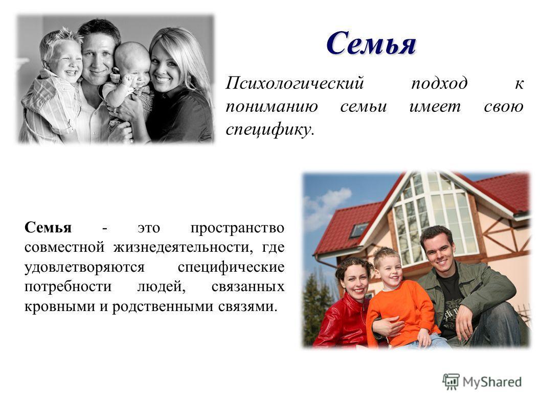 Семья Психологический подход к пониманию семьи имеет свою специфику. Семья - это пространство совместной жизнедеятельности, где удовлетворяются специфические потребности людей, связанных кровными и родственными связями.