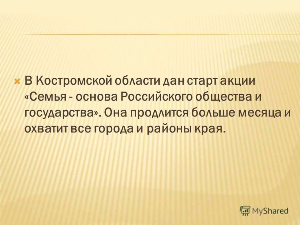 В Костромской области дан старт акции «Семья - основа Российского общества и государства». Она продлится больше месяца и охватит все города и районы края.