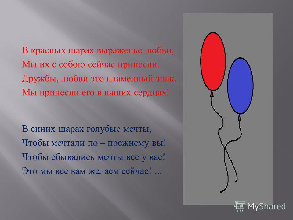 В красных шарах выраженье любви, Мы их с собою сейчас принесли. Дружбы, любви это пламенный знак, Мы принесли его в наших сердцах ! В синих шарах голубые мечты, Чтобы мечтали по – прежнему вы ! Чтобы сбывались мечты все у вас ! Это мы все вам желаем