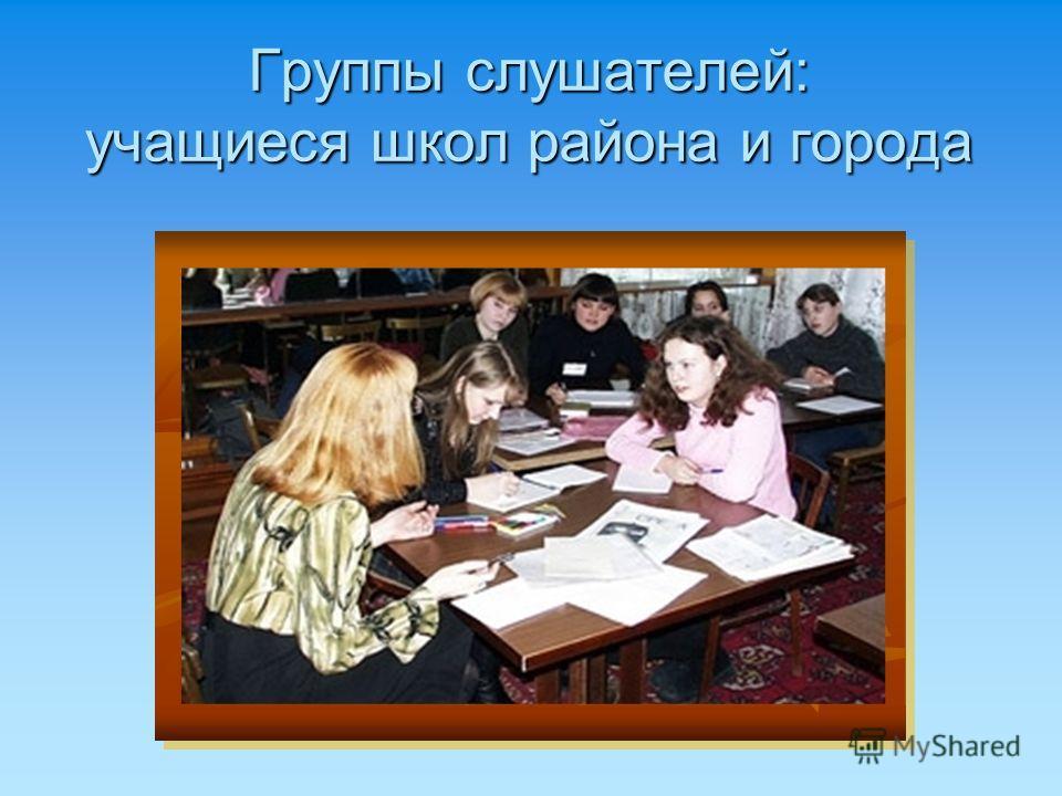 Группы слушателей: учащиеся школ района и города