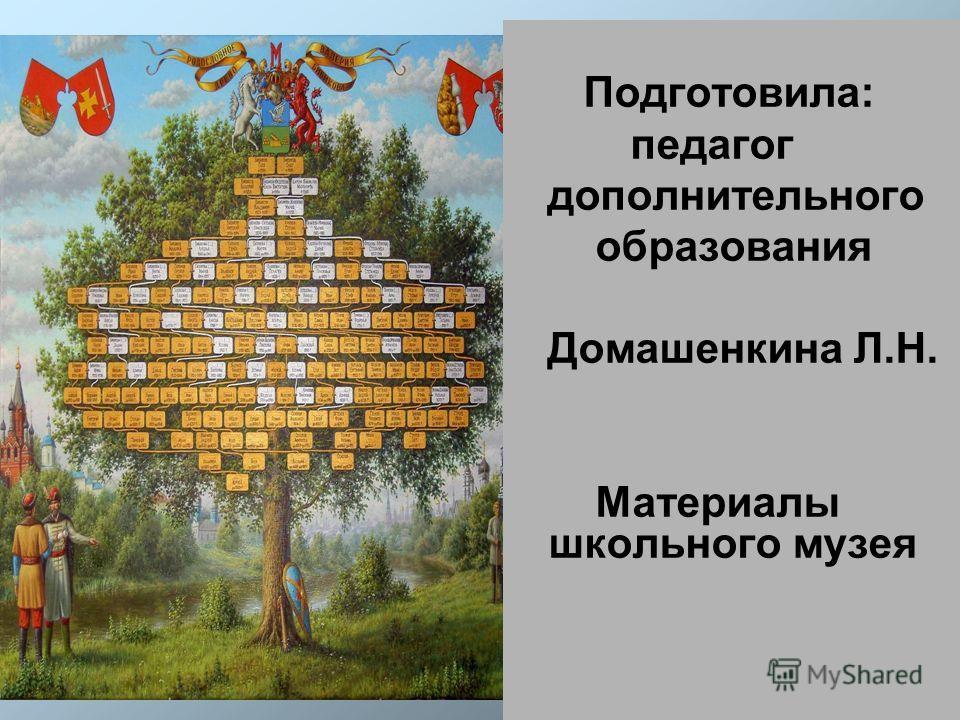 Подготовила: педагог дополнительного образования Домашенкина Л.Н. Материалы школьного музея