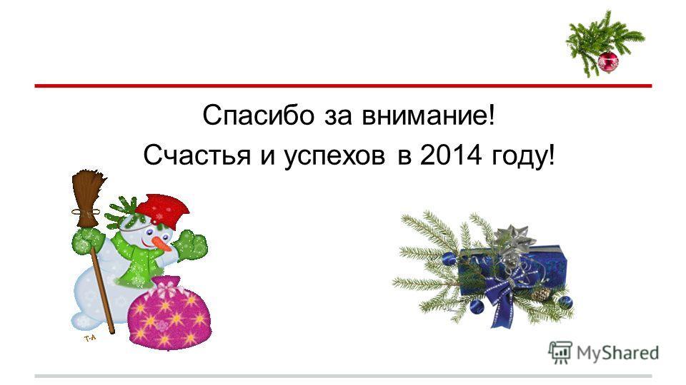 Спасибо за внимание! Счастья и успехов в 2014 году!