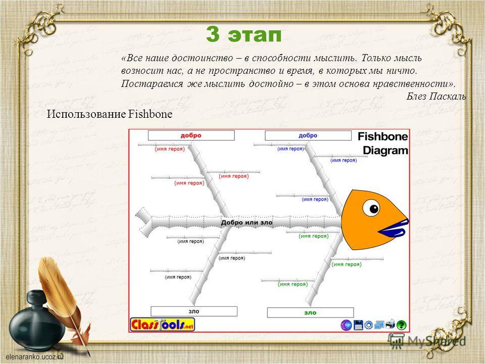 3 этап Использование Fishbone «Все наше достоинство – в способности мыслить. Только мысль возносит нас, а не пространство и время, в которых мы ничто. Постараемся же мыслить достойно – в этом основа нравственности». Блез Паскаль
