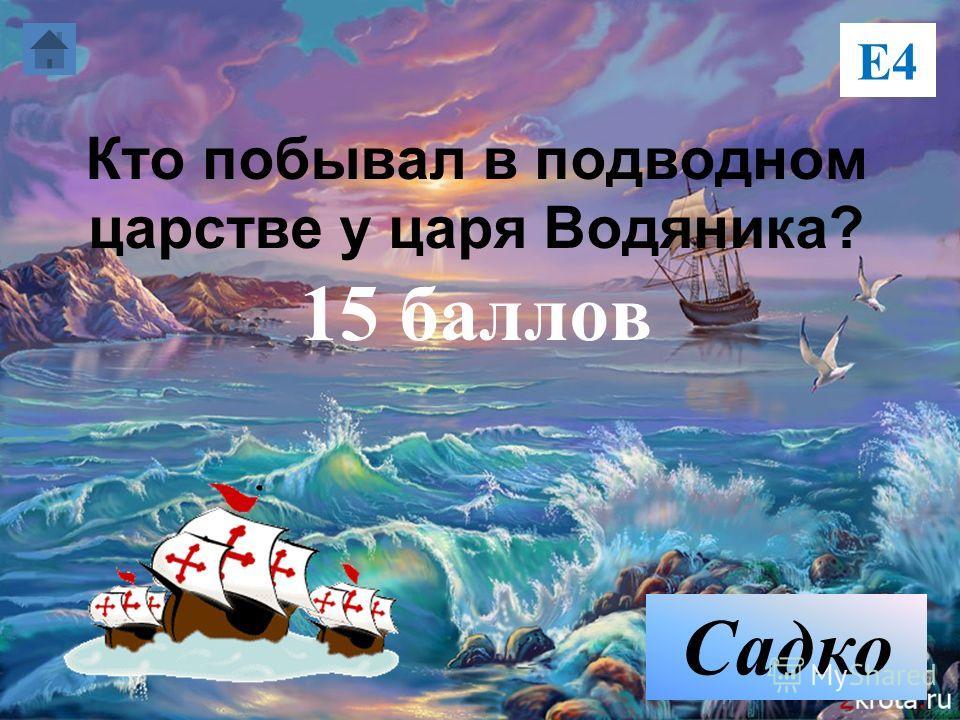 Кто побывал в подводном царстве у царя Водяника? 15 баллов Е4 Садко