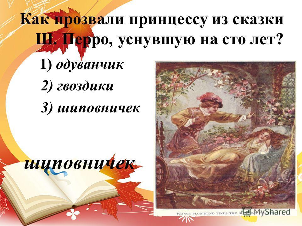 Как прозвали принцессу из сказки Ш. Перро, уснувшую на сто лет? 1) одуванчик 2) гвоздики 3) шиповничек шиповничек