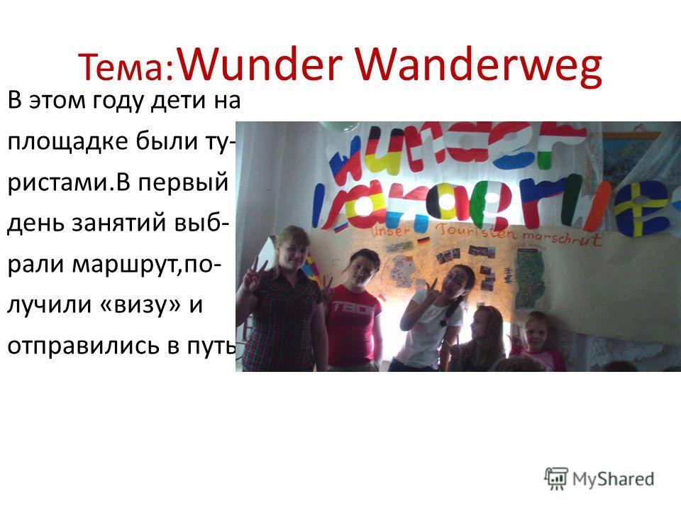 Тема: Wunder Wanderweg В этом году дети на площадке были ту- рисками.В первый день занятий выбрали маршрут,по- лучили «визу» и отправились в путь.