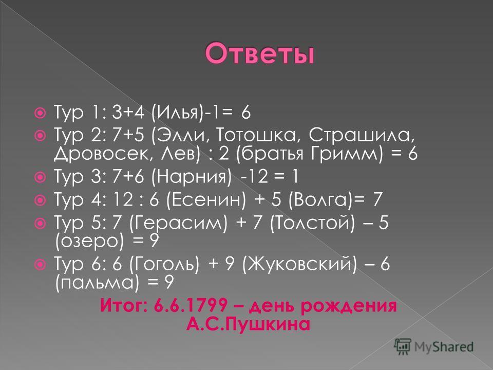 Тур 1: 3+4 (Илья)-1= 6 Тур 2: 7+5 (Элли, Тотошка, Страшила, Дровосек, Лев) : 2 (братья Гримм) = 6 Тур 3: 7+6 (Нарния) -12 = 1 Тур 4: 12 : 6 (Есенин) + 5 (Волга)= 7 Тур 5: 7 (Герасим) + 7 (Толстой) – 5 (озеро) = 9 Тур 6: 6 (Гоголь) + 9 (Жуковский) – 6