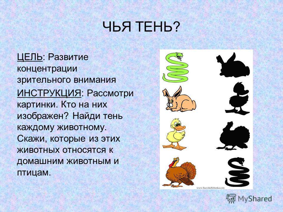 ЧЬЯ ТЕНЬ? ЦЕЛЬ: Развитие концентрации зрительного внимания ИНСТРУКЦИЯ: Рассмотри картинки. Кто на них изображен? Найди тень каждому животному. Скажи, которые из этих животных относятся к домашним животным и птицам.