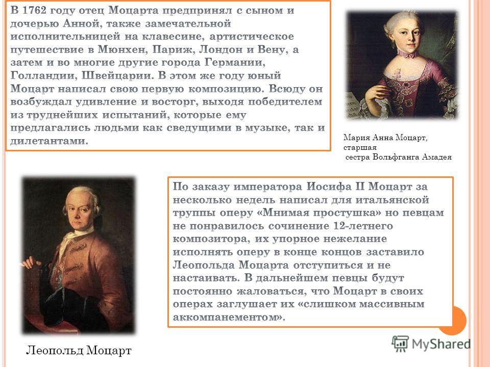 Мария Анна Моцарт, старшая сестра Вольфганга Амадея Леопольд Моцарт
