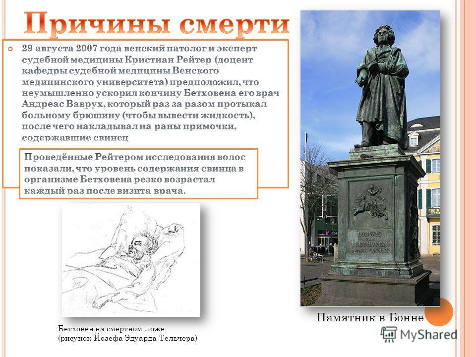 Памятник в Бонне Бетховен на смертном ложе (рисунок Йозефа Эдуарда Тельчера)