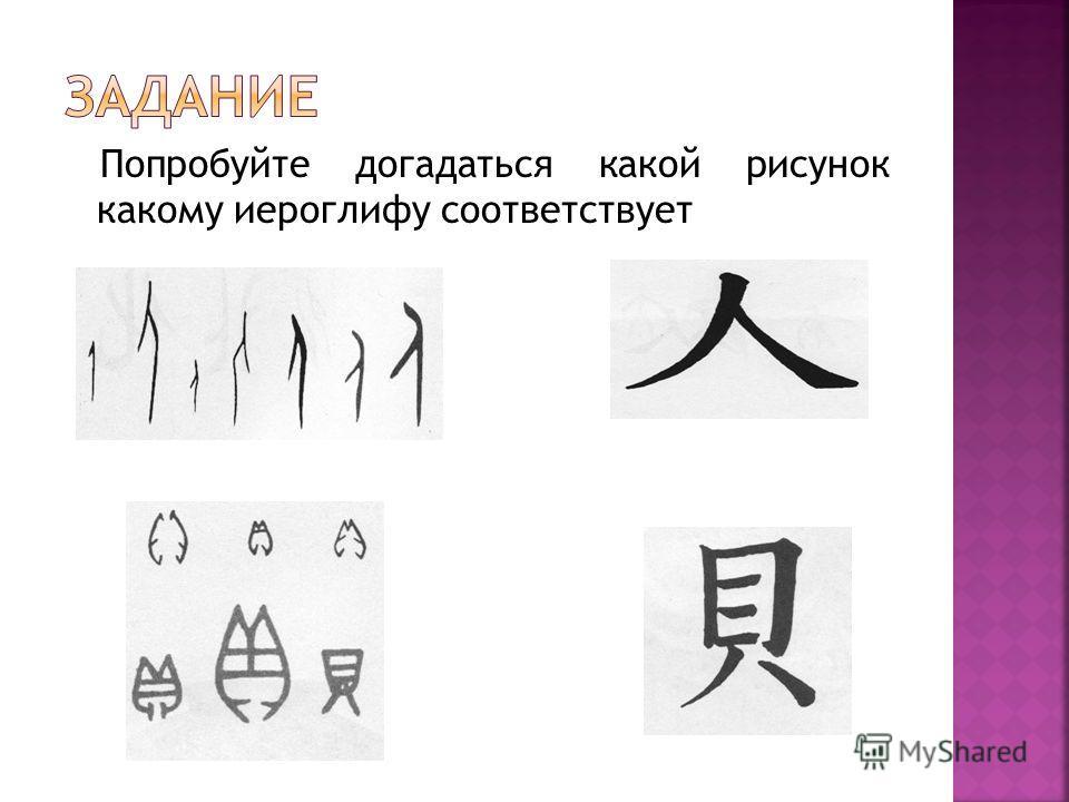 Попробуйте догадаться какой рисунок какому иероглифу соответствует